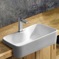 Semi Recessed Rectangular Bathroom Basin in White Ceramic 485mm x 375mm Bathroom Washbasin Foggia