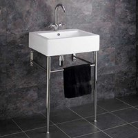 Freestanding Belfast Style White Bathroom Washbasin with Stainless Steel Stand Set Genoa
