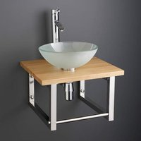 Small Frosted Glass Basin and Solid Oak Shelf Bundle 310mm Diameter Sink with Tap Waste and Trap Monza