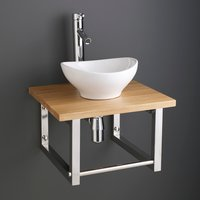Small Oval Basin and Solid Oak Shelf Bundle Ceramic 300mm x 280mm Sink with Tap Waste and Trap Bologna
