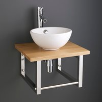 Small Round Basin and Solid Oak Shelf Bundle Ceramic 300mm Diameter Sink with Tap Waste and Trap Stabia