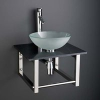 Small Frosted Glass Basin and Black Marble Shelf Bundle 350mm Diameter Sink with Tap Waste and Trap Monza