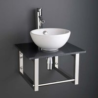 Small Round Basin and Black Marble Shelf Bundle Ceramic 300mm Diameter Sink with Tap Waste and Trap Stabia