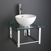 Small Round Basin and Glass Shelf Bundle Ceramic 300mm Diameter Sink with Tap Waste and Trap Stabia
