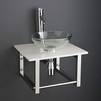 Small Glass Basin and White Marble Shelf Bundle 350mm Diameter Sink with Tap Waste and Trap Monza
