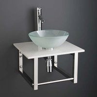 Small Frosted Glass Basin and White Marble Shelf Bundle 350mm Diameter Sink with Tap Waste and Trap Monza
