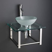 Round Frosted Glass 310mm Bathroom Bowl Set + Clear Square Glass Shelf 450G