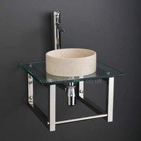 Round Small Limestone Cloakroom Basin Set Mounted on Square Glass Shelf 450G