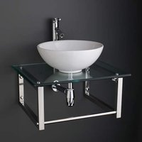 600mm by 500mm Glass Shelf + 400mm Round White Washbasin Bathroom Bowl Set 600G