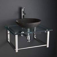 Wall Mounted 600mm x 500mm Glass Shelf Unit + 400mm Black Stone Sink Set 600G