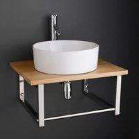 Large Round White Ceramic Wash Basin Set on Solid Oak Bathroom Shelf 600K