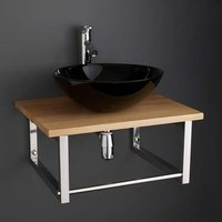 Black Glass 420mm Round Washbasin Bowl Set on 600mm Solid Oak Shelf 600K