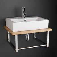 Large Rectangle 550mm x 400mm Washbasin with Solid Oak Bathroom Shelf 600K