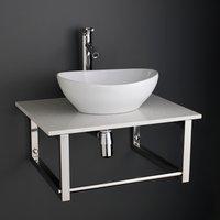 Large 400mm Oval Ceramic Bathroom Sink Set on White Storage Shelf 600W