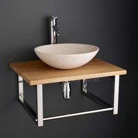 Solid Oak 600mm Bathroom Shelf +  Galala Round Stone Bathroom Washbasin Set 600K