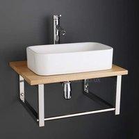 490mm Rectangular Bathroom Basin Set with Large Solid Oak Shelf 600K