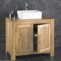 Large Solid Oak Bathroom Vanity Cabinet Bundle with Choice of Ceramic Basin Tap and Waste Set 900mm Alta