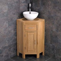 Small Corner Oak Vanity Unit with Round Basin Bundle Ceramic 300mm Diameter Sink with Tap and Waste Alta