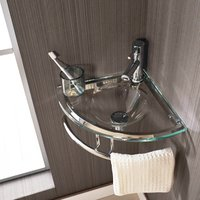 Small Corner Bathroom Basin Bundle Clear Glass 350mm Cloakroom Sink with Tap and Waste Brescia