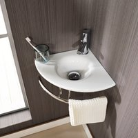Small Corner Bathroom Basin Bundle White Glass 350mm Cloakroom Sink with Tap and Waste Brescia