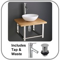 Small Round Basin and Solid Oak Shelf Bundle Ceramic 320mm Diameter Sink with Tap Waste and Trap Cami