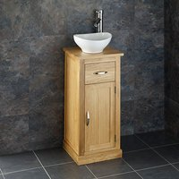 Small Freestanding Oak Hand WashBasin Cabinet + Oval Sink Set CUBE37