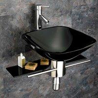 420mm Square Black Padova Glass Wall Mounted Bathroom Basin inc Stainless Steel Shelf Mounting Set