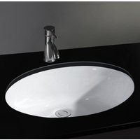 Oval Undercounter Inset Ceramic Bathroom Washbasin 500mm by 390mm PISA