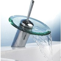 Round Glass Waterfall Quadrato Mixer Tap with Easy Use Single Lever Control