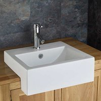 Semi Recessed Rectangular Countertop Washbasin 500mm x 460mm SANTANA