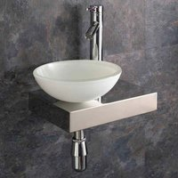 Small Glass Bowl Basin with Low Profile Shelf Bundle Left Hand 410mm x 250mm Includes Tap and Waste Savonna