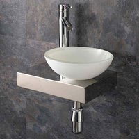 Small Glass Bowl Basin with Low Profile Shelf Bundle  410mm x 250mm Includes Tap and Waste Savonna