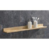 Long Bathroom Shelf Solid Oak 450mm Hand Crafted Natural Oak Wall Mounted Shelf