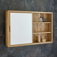 Large Solid Oak Mirror Bathroom Cabinet and Shelf Unit with Sliding Door in Natural Oak 800mm x 600mm