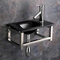 Small Wall Hung Basin Bundle in Black Glass 400mm x 250mm Cloakroom Sink with Tap and Waste Matera