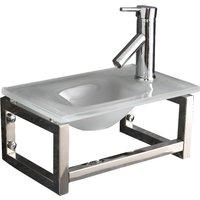 Narrow White Glass Wall Hung Cloakroom Sink Set 400mm x 250mm MATERA