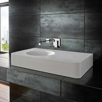 Large Rectangular Countertop Bathroom Basin and Side Shelf in White Stone Resin 800mm x 480mm Maze