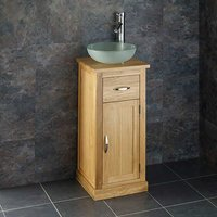 Small Round Basin and Oak Bathroom Storage Unit Bundle Frosted Glass 310mm Diameter Sink with Tap and Waste