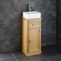 Small Rectanglular Basin and Oak Bathroom Storage Unit Bundle Ceramic 330mm x 290mm Sink with Tap and Waste