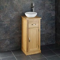 Small Round Basin and Oak Bathroom Storage Unit Bundle Ceramic 275mm Diameter Sink with Tall Tap and Waste