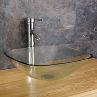 Glass Countertop Basin | Clear Square Bathroom Washbasin Bowl | 310mm | Monza