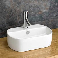 Narrow Oval Countertop Bathroom Basin in White Ceramic 440mm x 300mm Hand Sink Sienna