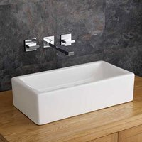 Rectangular Trough Basin Set 490mm White Ceramic Sink with Tap and Waste Treviso