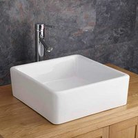 Square Countertop Basin | Small Freestanding White Bathroom Washbasin | 380mm Varese