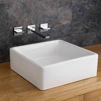 Square Countertop Basin | Small Ceramic Bathroom Wash Basin + Wall Tap + Waste | Varese