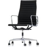 Vitra - EA 119 Bürostuhl Chrom mit Armlehnen, drehbar, Hopsak nero (Hartbodenrollen)