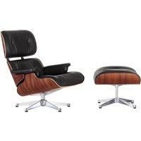 Vitra - Lounge Chair & Ottoman, poliert, Santos Palisander, Leder Premium nero (neue Maße)