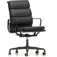 Vitra - EA 219 Soft Pad Bürostuhl beschichtet tiefschwarz mit Armlehnen, Leder Premium nero (Hartbodenrollen)
