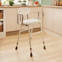Adjustable Kitchen Stool White by Coopers of Stortford