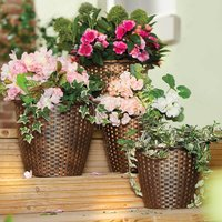 Rattan-Look Planters Set of 4 by Coopers of Stortford